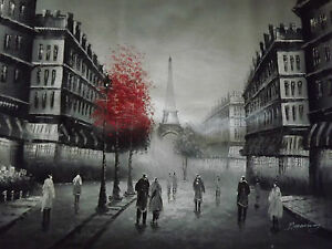 Dipinto ad olio su tela in bianco e nero con rosso parigi for Arredamento bianco nero e rosso