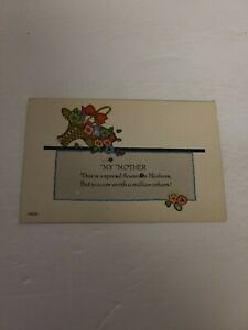 """Vintage Postcard - Greeting Card """"MY MOTHER"""" Early 1900s - Unposted - J-68"""