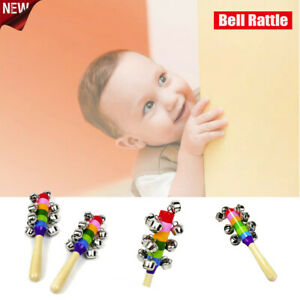 Rainbow-Musical-Instrument-Baby-Kid-Toy-Wooden-Hand-Jingle-Ring-Bell-Rattle-Toy