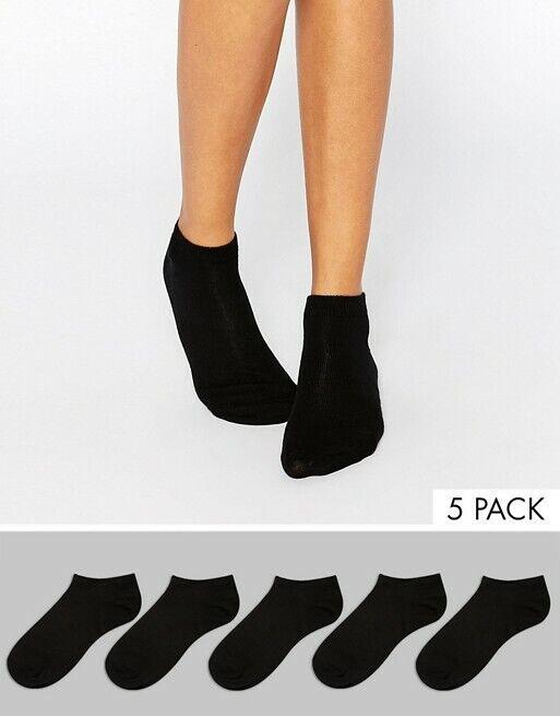 Asos Design Damen Sneaker Socken 5er-Pack schwarz Gr.36-41
