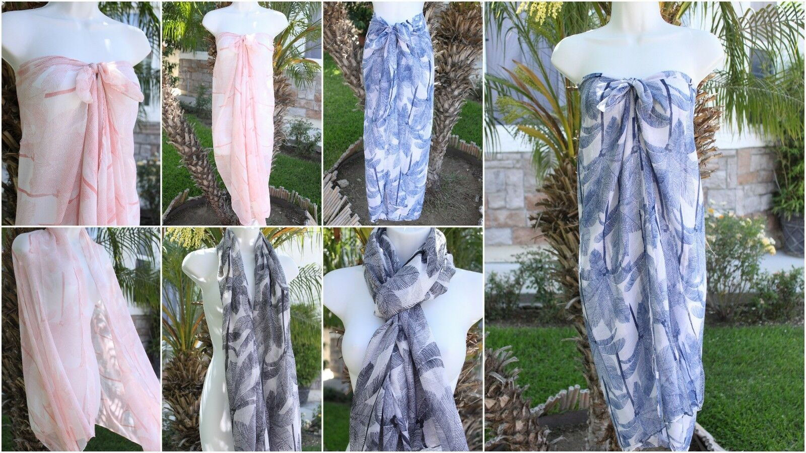 Neu Palme Vintage Inspiriert Durchsichtig Sarong Coverup Schal Rock Kleid Wrap
