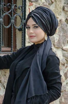 BD6044 Fertig Kopftuch Hazir Simli Büzgülü Bandana Türban Sal Tesettür Hijab