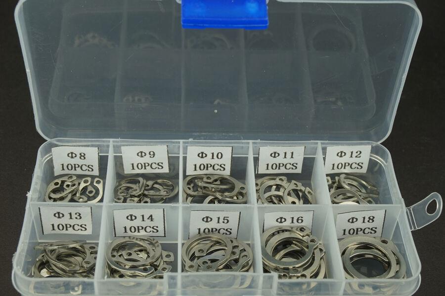 304 Stainless Steel Circlip Retaining Ring Snap Ring Assortment Kit 100PCS
