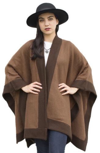 Women/'s Knitted Soft Alpaca Wool Border Ruana Cape Wrap One Size
