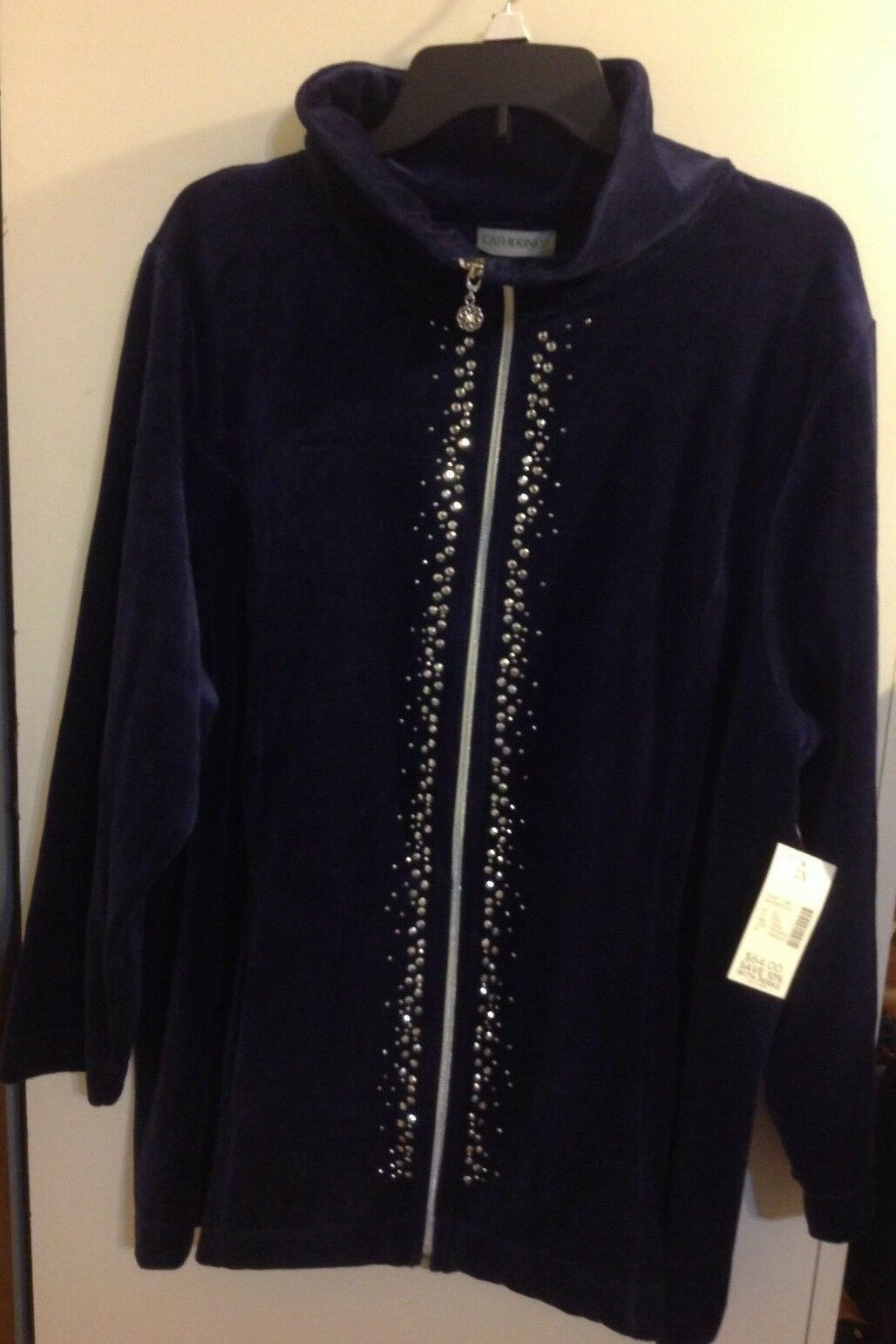 Catherines Women's Beaded Zip Up Sweater Size 2X 22 24W. New With Tag