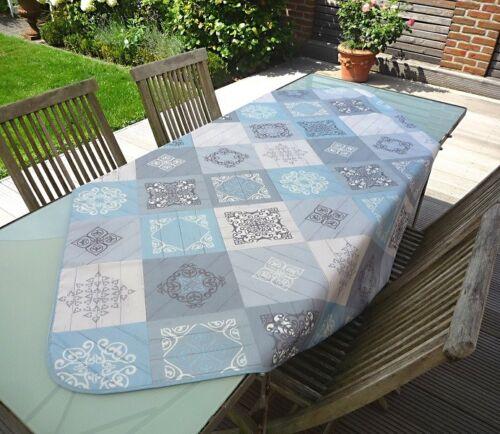Tischdecke bügelfrei 130x150 cm blau grau aus Frankreich Provence pflegeleicht