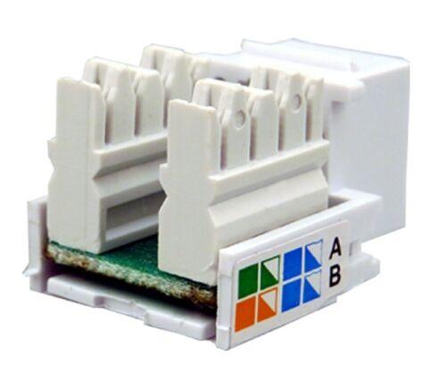 10 Pcs lot Keystone Jack Cat5e White Network Ethernet 110 Punchdown 8P8C RJ45