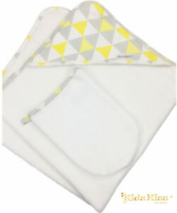 Kidz-Kiss-Baby-Velour-Hooded-Towel-with-Mitt-Bag-Washcloth-Triangle-Yellow