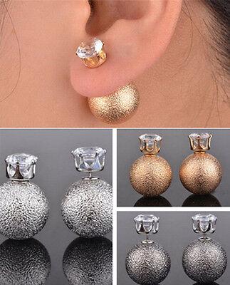 Fashion Lady Celebrity Runway Double Crystal Bead Ball Ear Stud Jewelry USSH