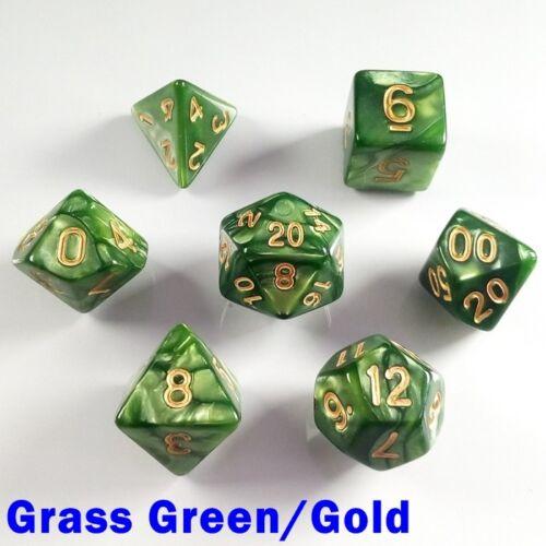 PEARL Poly 7 DICE RPG Set vert gazon or Pathfinder 5e Donjons Dragons d/&d HD