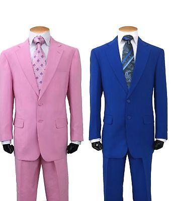 Men/'s Two Button Poplin Dacron Fashion Suit 7022 Royal Blue Burgundy