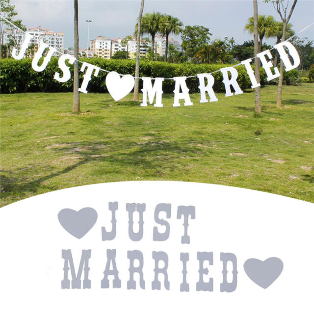 Vintage Just Married Banner Wedding Decor Bunting Photo Booth Props Signs