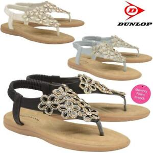 Ladies-Memory-Foam-Low-Wedge-Heel-Walking-Toe-Post-Summer-Strappy-Sandals-Shoes