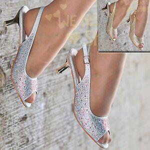 Ladies Diamante Slingback Shoes Peep