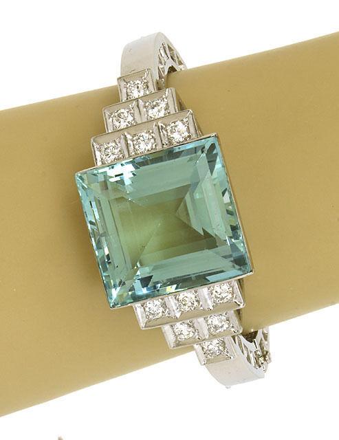 Estate 62ct Aquamarine & Diamonds Platinum Hinged Bangle Bracelet
