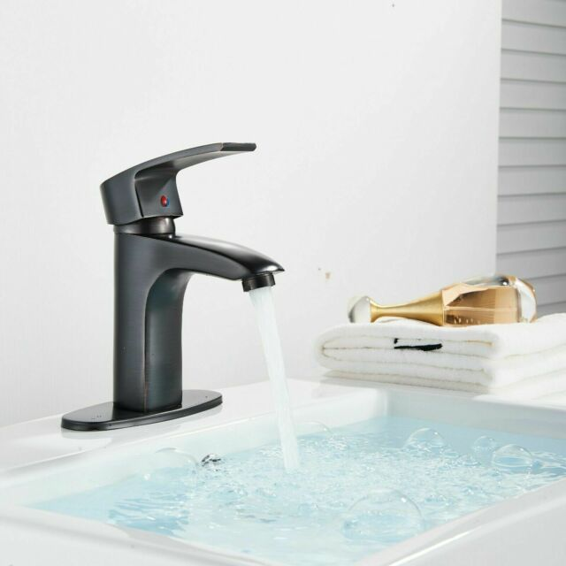 Bathroom Single Handle Lever 1 Hole Faucet Oil Rubbed Bronze Mixer Tap W/ Cover