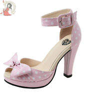 T.U.K. TUK pin-up 50's STARLET POLKA DOT KNOT platform SHOES heels PINK & WHITE