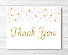 Blush Pink & Glitter Gold Thank You Card Printable