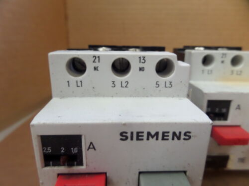 LOT OF 3 SIEMENS MOTOR STARTER 3VE1010-2H 1.6-2.5A A AMP 3VE10102H USED