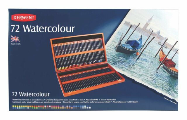 Derwent Watercolour Pencils Wooden Box Set72
