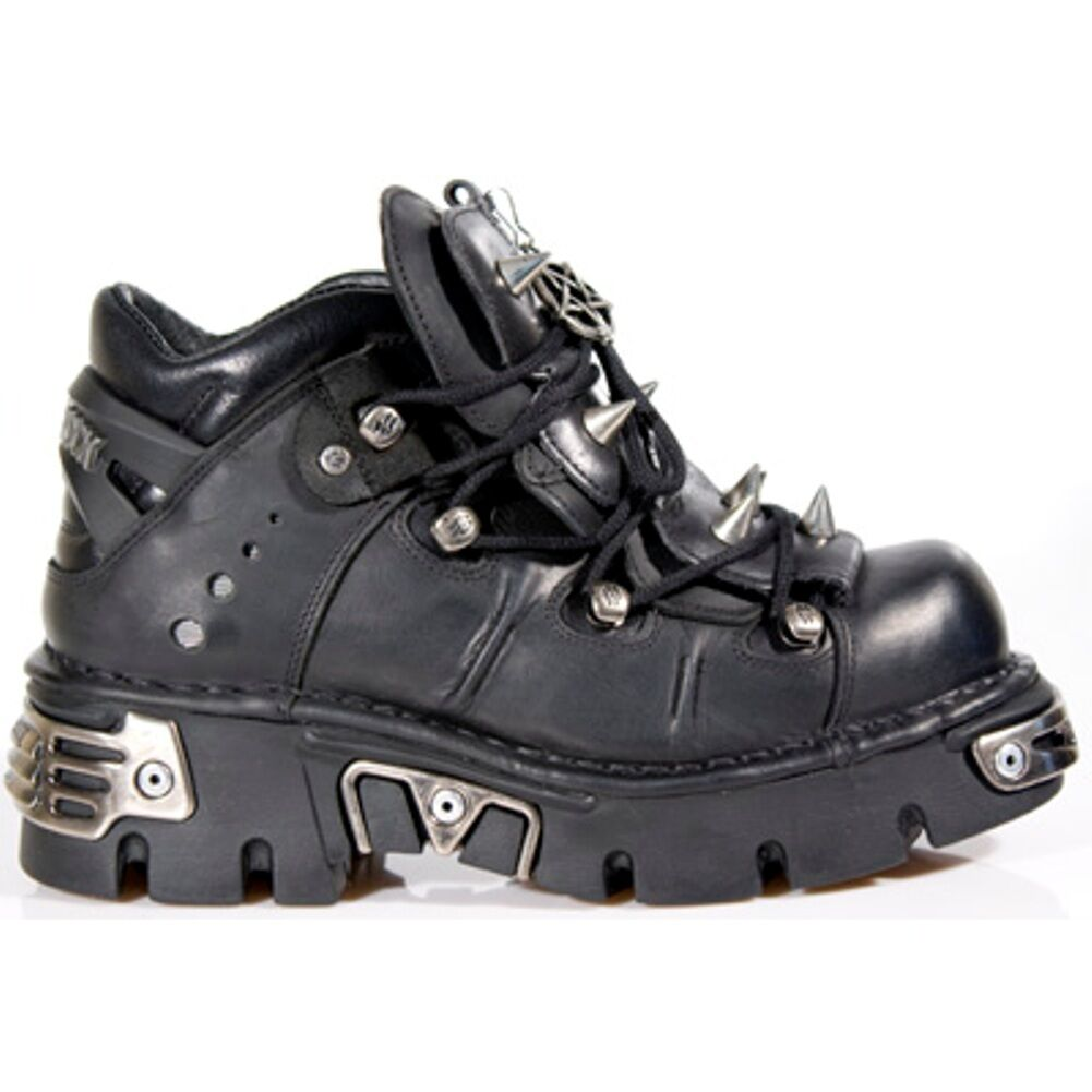 NEW Rock 110-S1 metallica Stivali Nero 100% in Pelle Goth Biker Emo Fashion