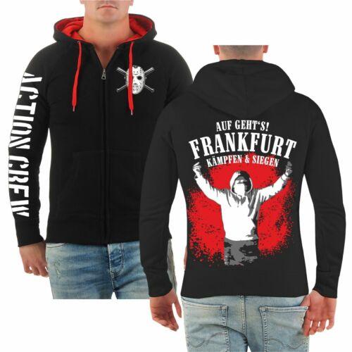 Kapuzensweat Jacke Auf geht/'s Frankfurt kämpfen /& siegen FFM Hooligan Adler