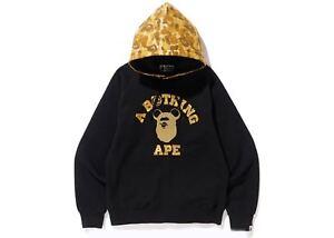 042d613054a7 BAPE x Medicom Toy Ape Head Bear College Pullover Hoodie Black Gold ...