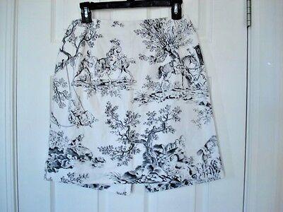 WOMEN'S Talbots PETITES Size 12 BLACK & White Toile DAMASK  HORSES LINED Skirt