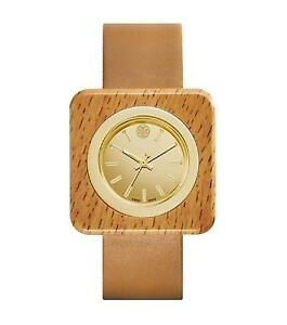 5bff2b0133f1 Tory Burch TRB3007 Women s Izzie Brown Leather Strap Gold Dial Gold ...