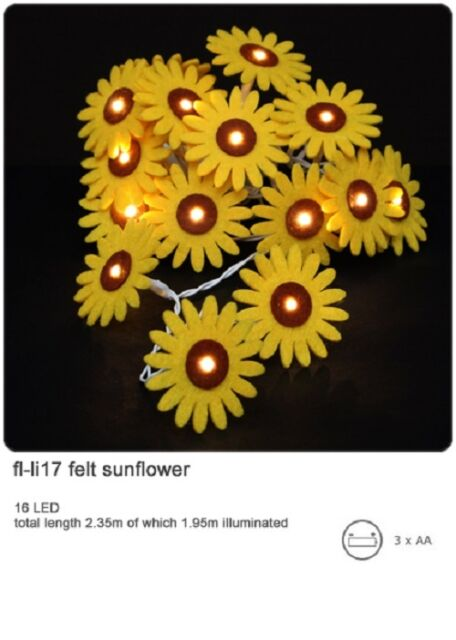 *NEW* String 16 FELT SUNFLOWER FLOWERS Battery Operated LED Fairy Lights