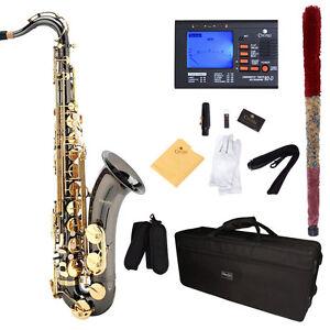 Mendini-Bb-Tenor-Saxophone-Sax-Black-Nickel-Body-Gold-Keys-Tuner-MTS-BNG