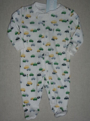 Gymboree AUTO BABY White Car Print Footed 1 piece Romper Gymmies NWT NB 0-3 5lb