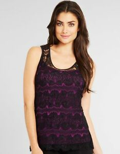 LADIES-BLACK-LACE-PURPLE-CAMISOLE-VEST-T-SHIRT-TOP-UK-8-amp-10-NEW