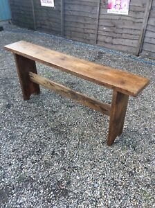 VINTAGE-RAILWAY-BENCH-PINE-HAND-WAXED-FINISH-24-Ins-TALL