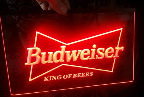 Budweiser LED Neon Bar Sign Home Light up Pub Bud Beer Lager mancave drink film
