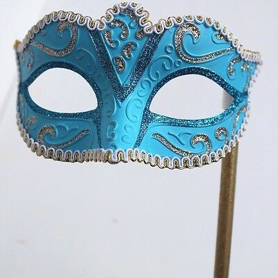 GLITTERING BLUE /& GOLD VENETIAN MASQUERADE  PROM PARTY  MASK ON A  HAND STICK
