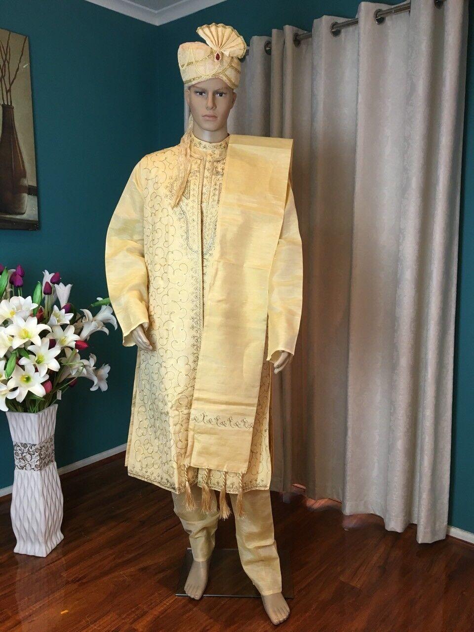 """50"""" 4XXXXL Sherwani Suit Indian Bollywood  Herren Kurtha Golden Cream Kurta  HL5"""