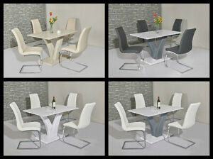 Image Is Loading Ellie High Gloss 120cm Dining Table Amp Chairs