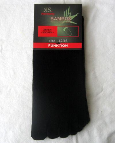 1 Paia Calze Harmony bambù Dita Dei Piedi Calzini igiene da uomo nere UNI 36 a 46
