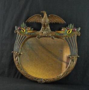 vintage decorative gold gilt polychrome painted mirror w eagle