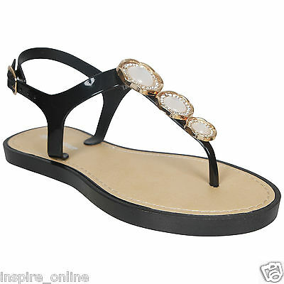 Señoras Mujer Retro Jalea Sandalias De Playa Verano Niñas plana flip flop Zapatos Talla