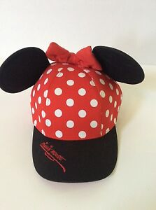 a20c9280610e8 Walt Disney World Minnie Mouse Polka Dot Baseball Cap Hat Ears Youth ...
