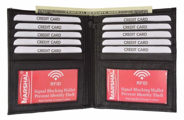 BLACK RFID Blocking Leather Hipster Bifold 2 ID 10 Credit Card European Wallet