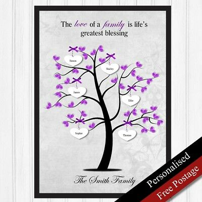 Family Tree Personalised Gift Keepsake Mum Sister Friend Family Gift PRINT ONLY
