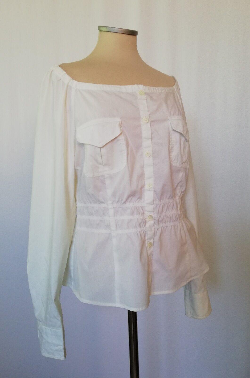 MARC CAIN Weiß Button Off Shoulder Top Blouse Shirt Cotton Größe5 UK14 US12 EU40