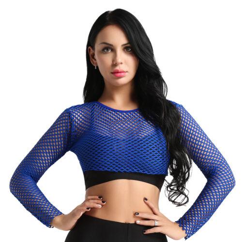 Women/'s Fishnet See Through Long Sleeve Mesh Crop Tops Clubwear T-shirt Cover Up