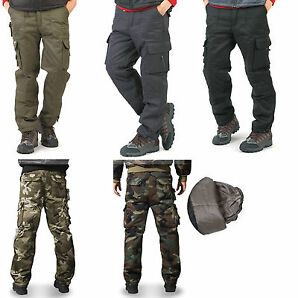 Mens winter thermal warm lined warm work trousers camo cargo workwear pants
