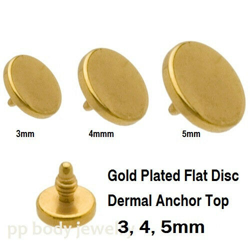 1pc. 14G~3mm, 4mm, 5mm Gold Plated 316L Surgical Steel Flat Disc Dermal Top