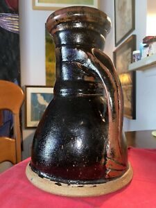 American-Studio-Stoneware-Pottery-Pitcher-Marked-11-3-4-Tall-X-8-1-4-Bottom