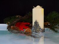Christmas Theme Candle Holder Silver Tone Metal Christmas Flower Tree Gifts